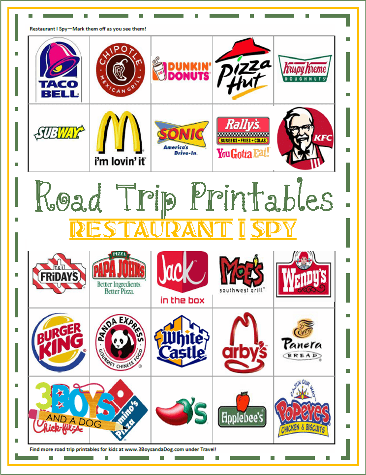 "Printable Road Trip ""Restaurant I Spy"" Game | 3 Boys and a Dog"