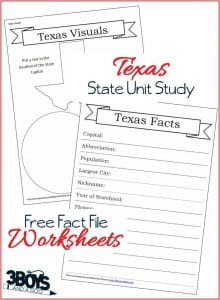 Free Texas State Fact File Worksheets to help your children learn about this great Southern State!
