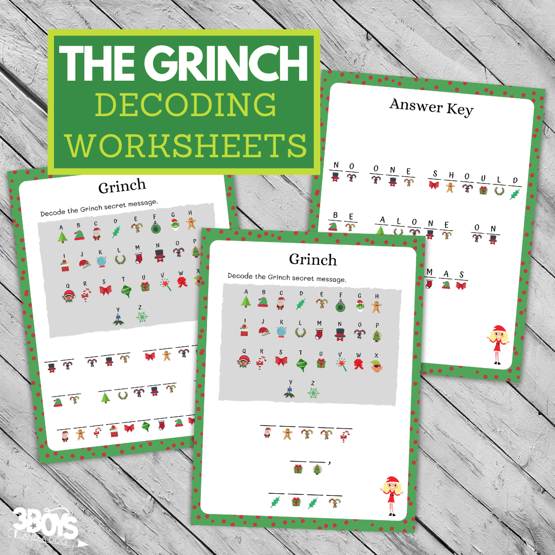 Adorable And Fun Grinch Decoding Worksheets 3 Boys And A Dog
