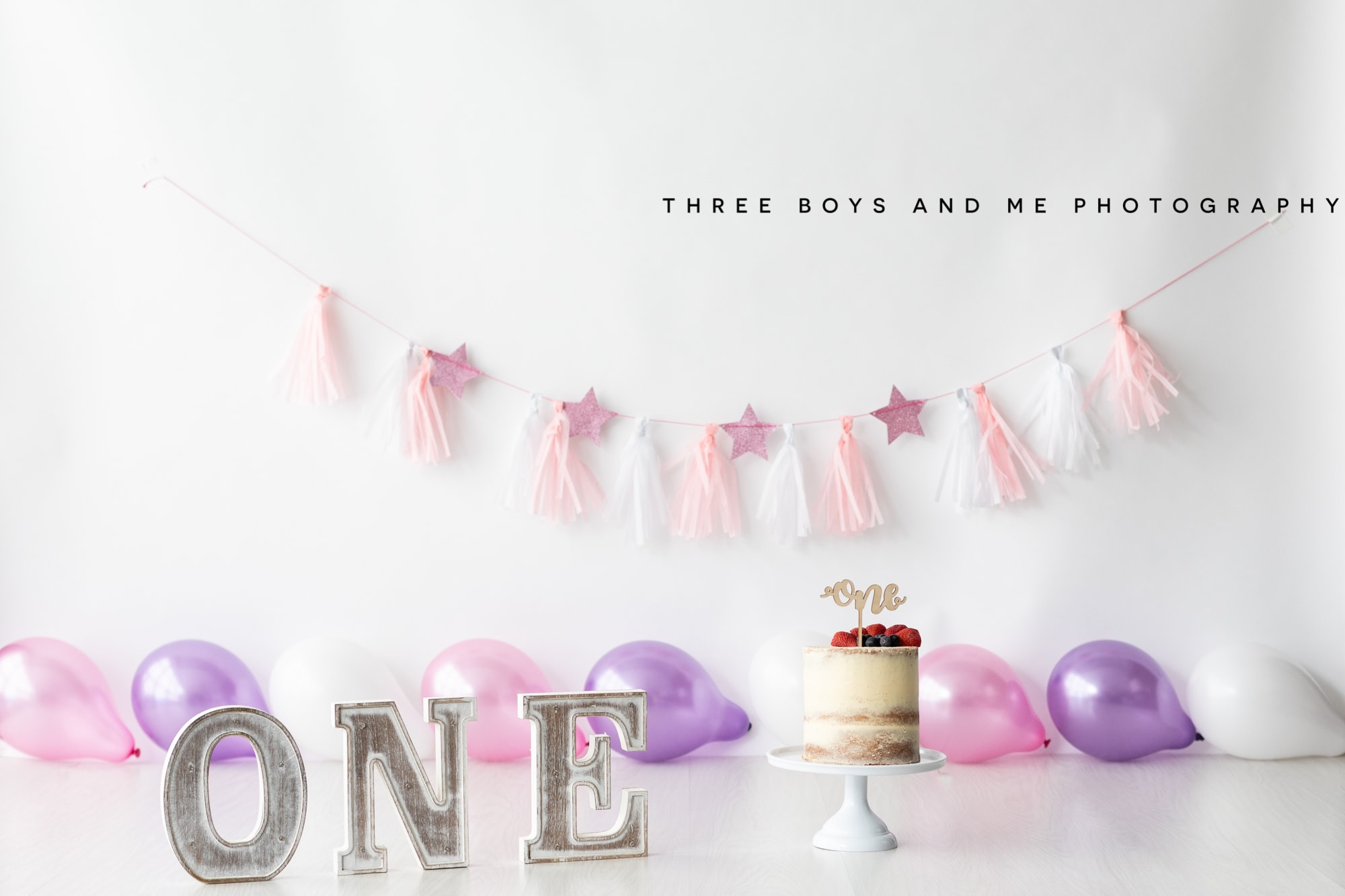 pink and purple cake smash set up in my Bexley photography studio