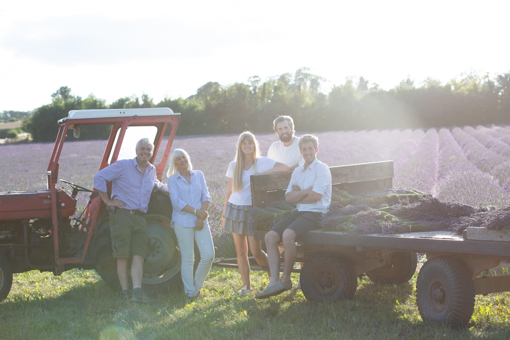 Family image shot in the lavender fields of Castle Farm in Shoreham Kent