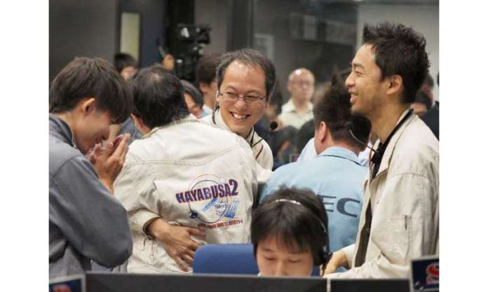 Officials from Japan's space agency celebrated news of Hayabusa2's successful second touchdown on the asteroid Ryugu