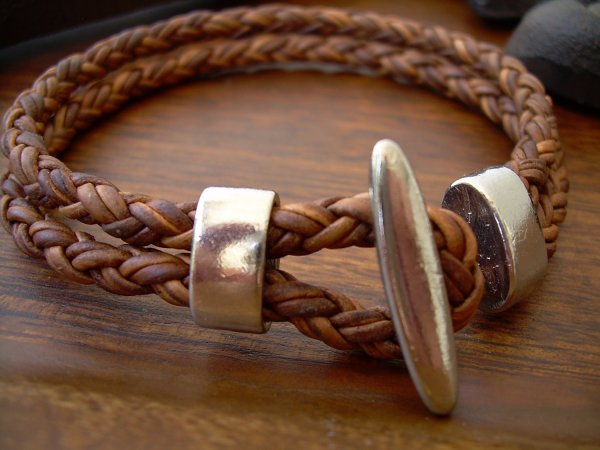 Natural Light Brown Braided Mens, Womens, Leather Bracelet ...