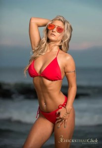 Blonde model Alexa wearing red bikini