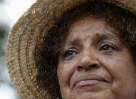 Sandy Redman of Pine Top, N.C., cries as she listen to President Obama speak at the Lincoln Memorial in Washington