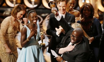 Lupita and Steve McQueen celebrates winning the best picture Oscar for 12 Years a Slave