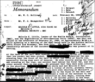 FBI Files. Detail from the summary of the FBI investigation into Malcolm X's assassination, February 22, 1965. Credit: Public Domain