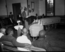 Reverend Joseph Ingram delivering the eulogy for lynching victims George W. Dorsey and Dorothy Dorsey Malcom, July 28, 1946