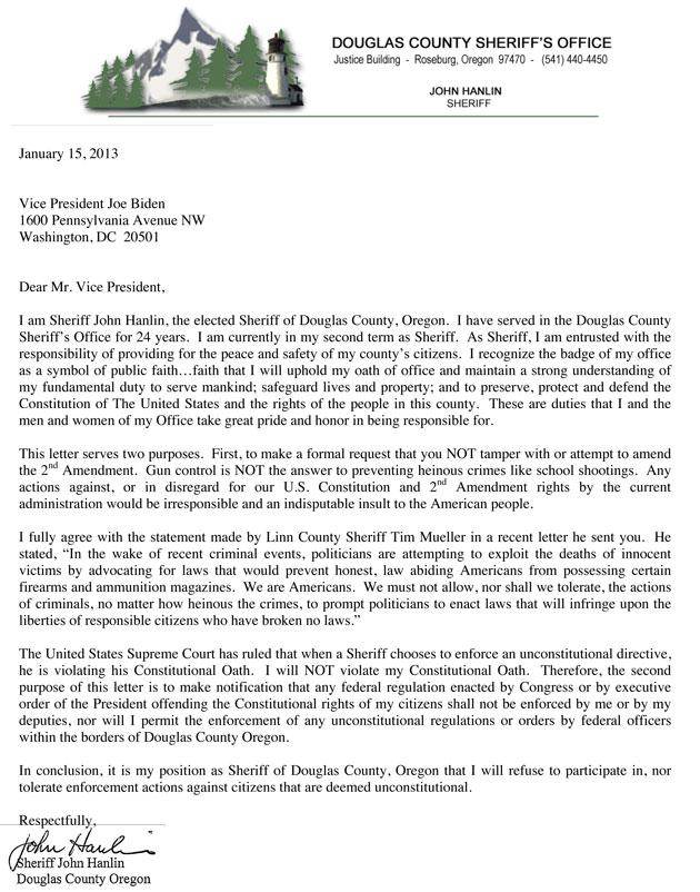 Oregon Sheriff letter to Joe Biden