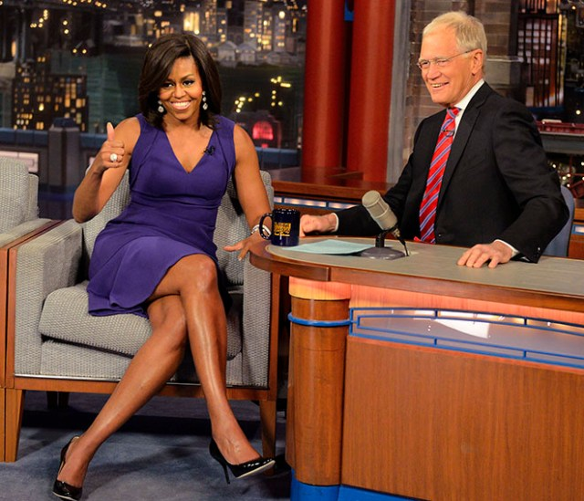 First Lady Michelle Obama visited with CBS Late Show host David Letterman and as a surprise brought the US Marine Corps Band during 4/30 taping in New York. Photo: John Paul Filo/CBS ©2015CBS Broadcasting Inc. All Rights Reserved