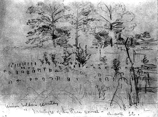 """Union Soldiers cemetery, """"Martyrs of the Race course,"""" Charleston, S.C A pencil drawing and a grainy photo in the Library of Congress are all that is left of the cemetery where 257 Union soldiers were buried after the Civil War on what had been a race course in Charleston, South Carolina."""