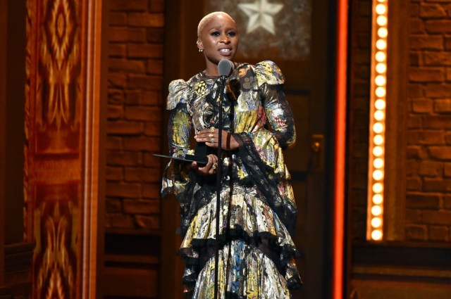 """NEW YORK, NY - JUNE 12:  Actress Cynthia Erivo accepts the award for Best Performance by an Actress in a Leading Role in a Musical in """"The Color Purple"""" onstage during the 70th Annual Tony Awards at The Beacon Theatre on June 12, 2016 in New York City.  (Photo by Theo Wargo/Getty Images for Tony Awards Productions)"""