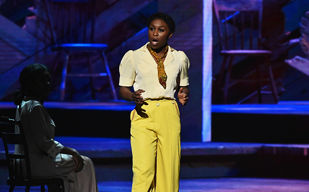 """NEW YORK, NY - JUNE 12: Cynthia Erivo of """"The Color Purple"""" performs onstage during the 70th Annual Tony Awards at The Beacon Theatre on June 12, 2016 in New York City.  (Photo by Theo Wargo/Getty Images for Tony Awards Productions)"""