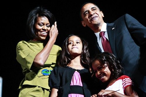 Rally with Sen. Barack Obama,  his wife Michelle and children Sasha and Malia close to the State Capitol in Des Moines, Iowa on Tuesday, May 20, 2008.  (Chicago Tribune photo by Zbigniew Bzdak)                                                 ..OUTSIDE TRIBUNE CO.- NO MAGS,  NO SALES, NO INTERNET, NO TV, CHICAGO OUT.. 00293862A OBama