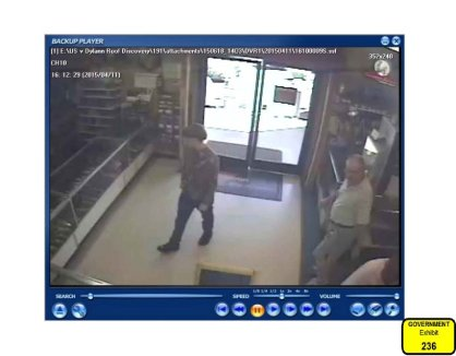 Evidence released from testimony. Here are surveillance photos when #DylannRoof went to Shooter's Choice.