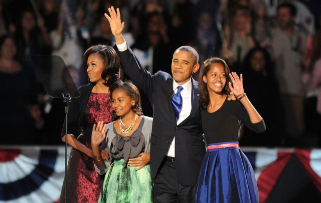 President Barack Obama and the first family take the stage Tuesday, November 6, 2012, in Chicago, Illinois, after the president was re-elected. (Olivier Douliery/Abaca Press/MCT) ** HOY OUT, TCN OUT **