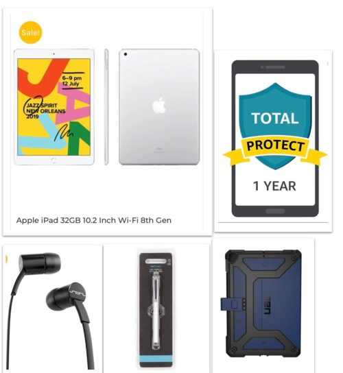 New iPad 8th Gen PREMIUM Bundle – iPad 32GB +Rugged Case +SOL ear plugs+Touch Pen+12 Month Damage Protection