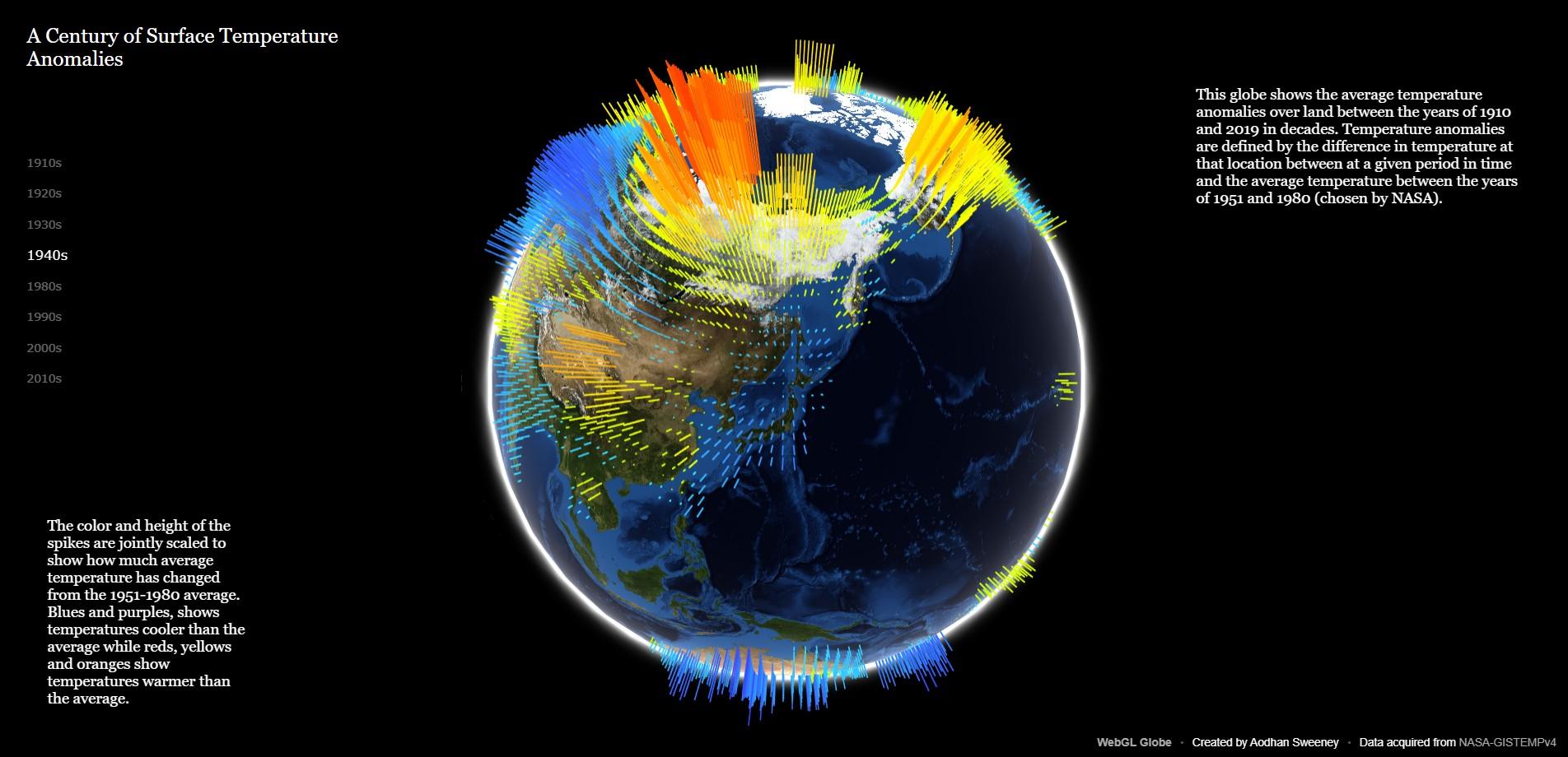 NASA 帶你看100年來地球氣溫變化