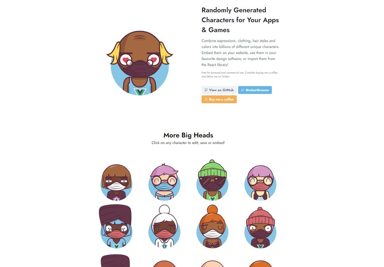 Bigheads 隨機頭像產生器 快來挑選一個屬於你的個人頭像