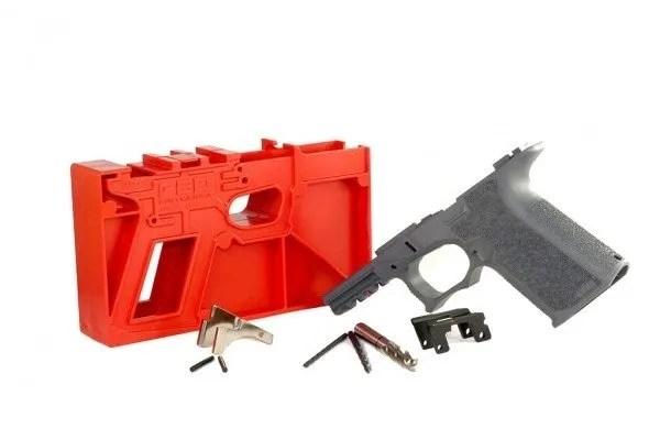 9mm Tactical Grey Polymer80 Compact Glock 19 Frame-Slide-Barrel Builders Kit