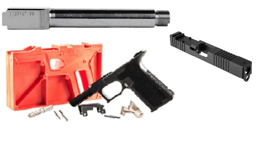 Polymer80 Glock 17 Bare Bones Kit - Threaded Stainless Steel Barrel - RMR  Cut Slide