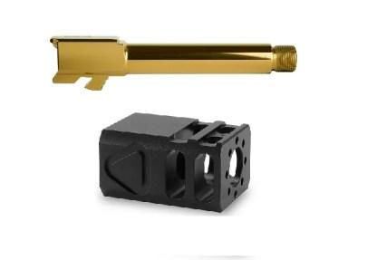 Glock 19 Gold Threaded Barrel TBC Comp Combo