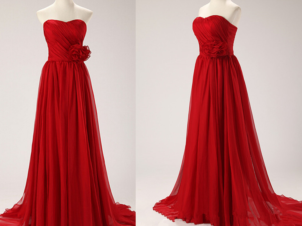 Delicate Red Sweetheart Chiffon Prom Gown, Red Prom