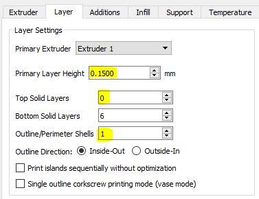 Simplify3D Layer Settings