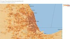 Chicago densities gridded on 1x1 mile area