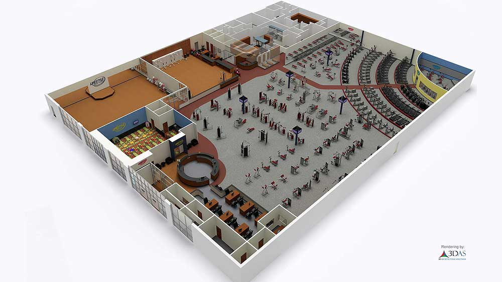 3D Gym Animation and Floor Plan in Sarasota, Florida