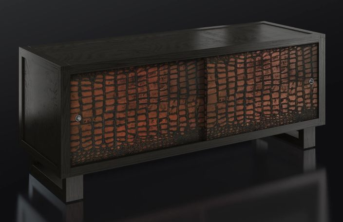 Grey Credenza with Crocodile Print
