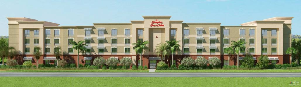 Hampton Inn Architectural 3D Elevation in Stuart, Florida