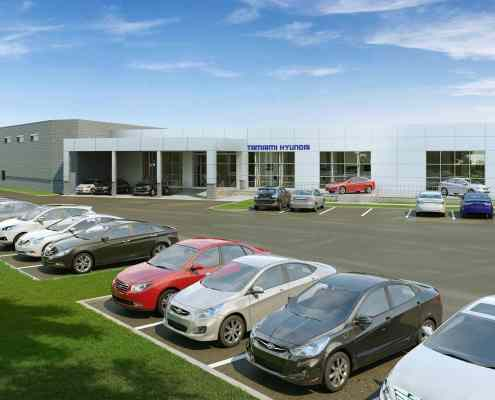 Tamiami Hyundai Car Dealership in Naples Florida - 3D Rendering