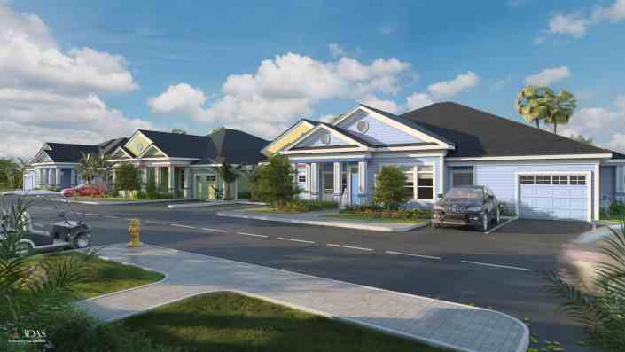 Exterior 3D Rendering of the Villas in - The Floridian - Venice Florida