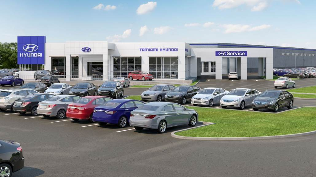 Tamiami Hyundai in Naples - 3D Rendering Front View