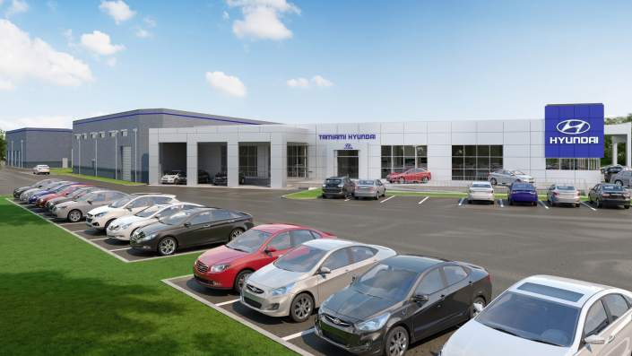 Tamiami Hyundai in Naples - 3D Rendering Site View