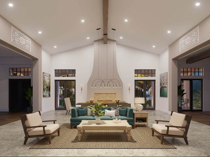 One Boyton Beach Great Room 3D Interior Rendering