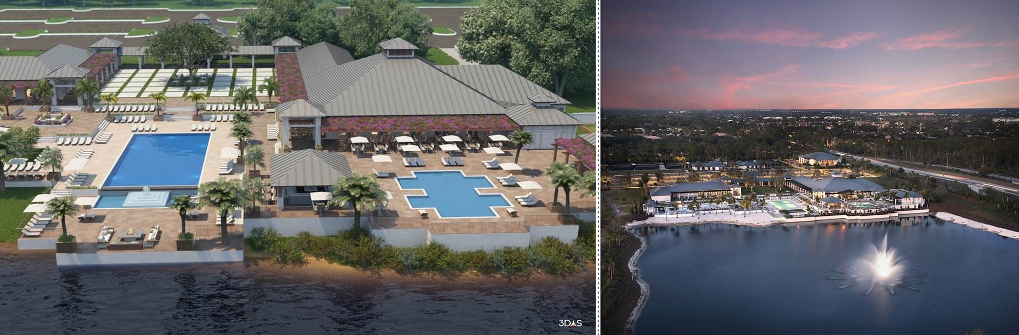 Kalea Bay Aerial Clubhouse 3D Rendering (Left) and Photo (Right)