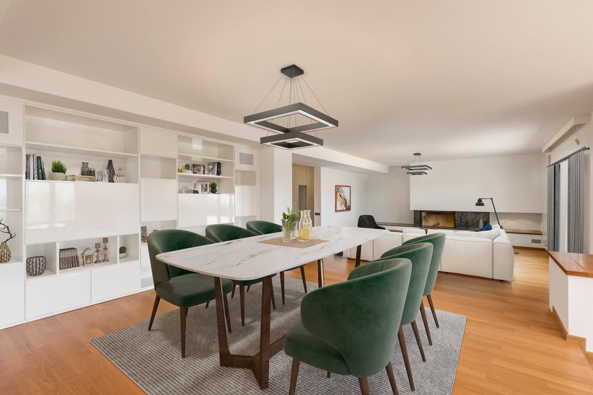 Home staging virtuel salon restylisé