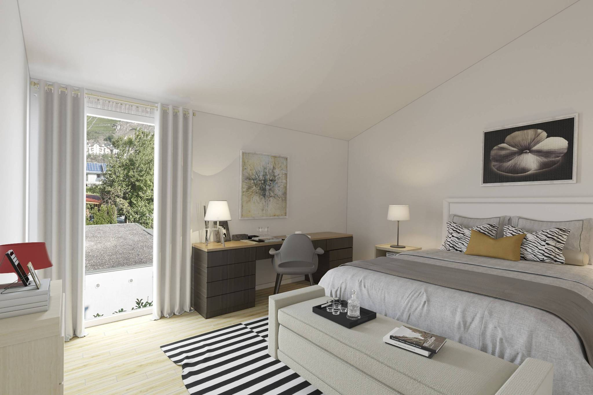 Home staging virtuel Chambre rénovée