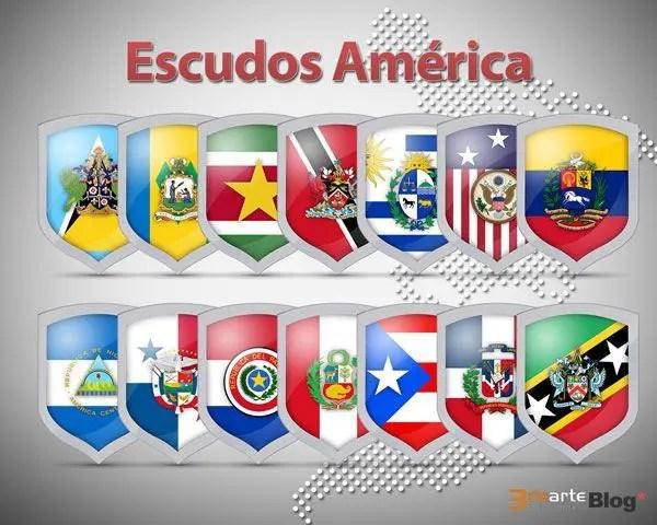 36 iconos de escudos con banderas de América en PNG Gratis
