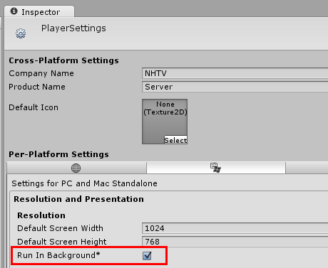 Unity - Player Settings