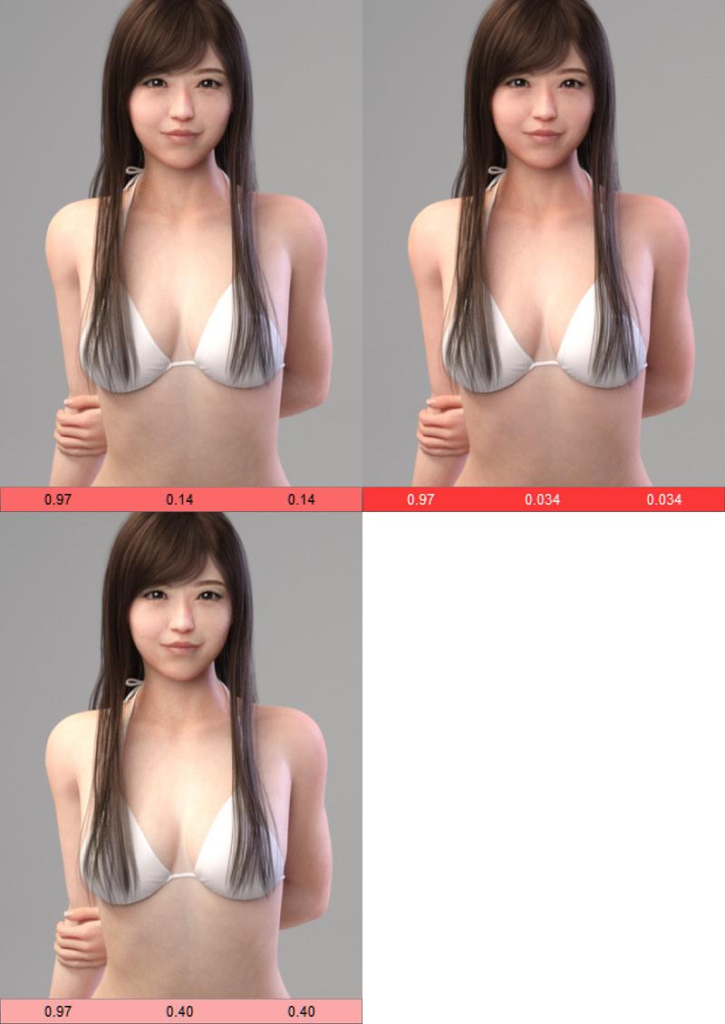 Transmitted Color の違いによる比較