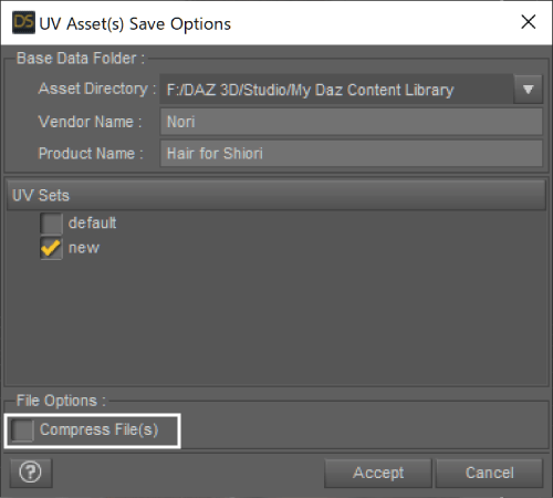 UV Assets Save Option