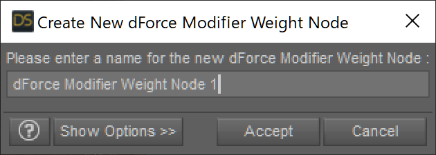 Create New dForce Modifier Weight Node