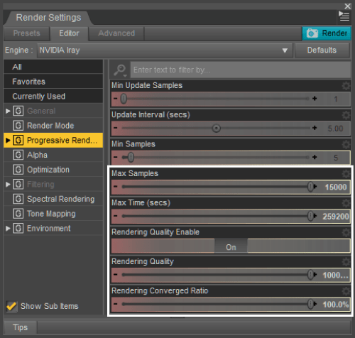 高画質用のRender Settings