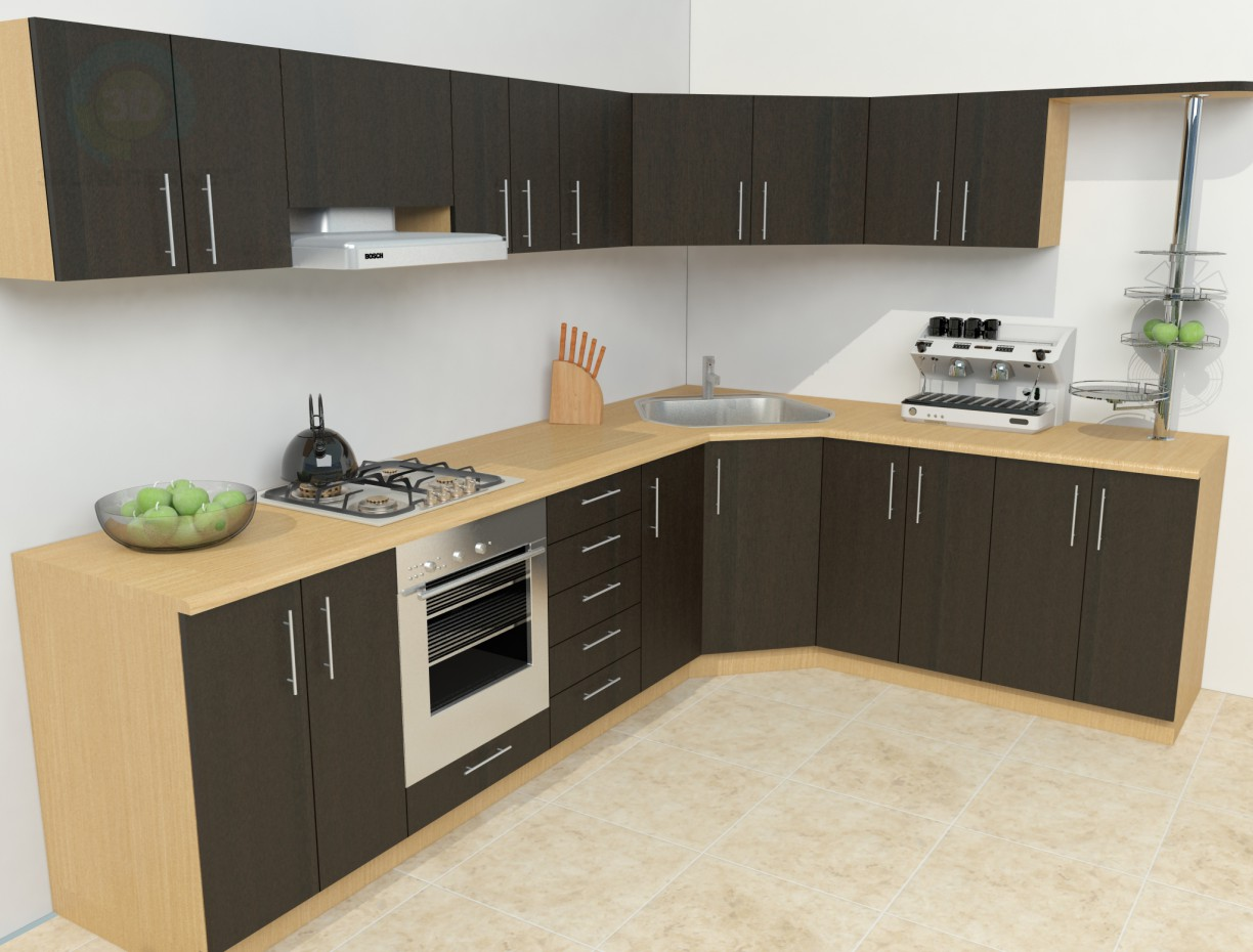 3d model Simple kitchen download for free on Kitchen Model Images  id=85851