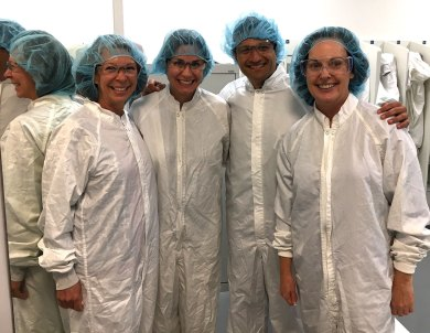 Gowned up for a pharmaceutical site tour