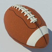 American Football Ball With Stripes Low Poly 3D Model - VR Ready