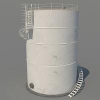Cylinder Oil Tank Silo 3D Model